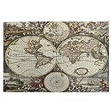 Blived Rompecabezas de 1000 Piezas,Rompecabezas de imágenes,Mapa Antiguo del hemisferio Mundial,Juguetes Puzzle for Adultos niños Interesante Juego Juguete Decoración para El Hogar