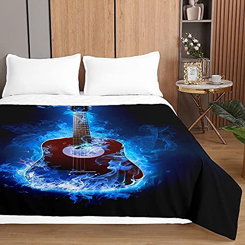 SurwinColchadeVeranoReversibleColchaBoutidePrimaverayEntretiempo, MicrofibraLigeraColchaAcolchadaCubrecama con Guitarra 3D paraCama Individual Matrimonio (Humo Azul,100x150cm)