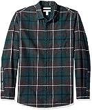 Amazon Essentials - Camicia in flanella a maniche lunghe, a quadri, da uomo, Slim Fit, Verde (Green/Charcoal Heather Plaid), US S (EU S)