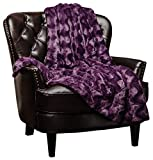 Chanasya Fuzzy Faux Fur Soft Wave Embossed Throw Blanket - Cozy and Warm Lightweight Reversible Sherpa for Couch, Home, Living Room, and Bedroom Décor (50x65 Inches) Purple