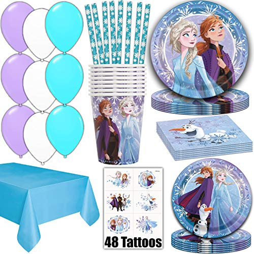 Frozen 2 Party Supplies for 16 - Dinner Plates, Cake Plates, Napkins, Cups, Straws, Tablecover, Balloons, Tattoos - Disney Frozen Theme Birthday Pack Disposable tableware, decorations, Favors