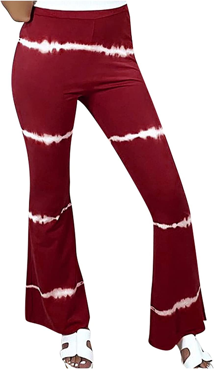 VonVonCo Flare Pants for Women Casual Elastic Girdle Waist Wide Leg Pants Trousers Stretch Printed Horn Red Medium