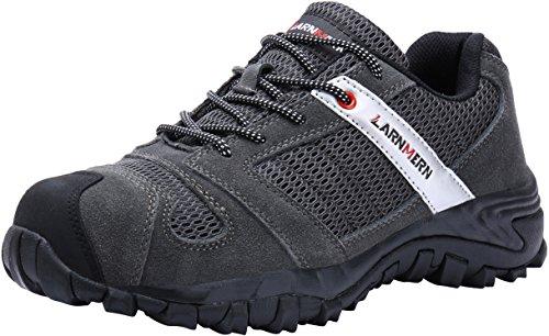 LARNMERN Sicherheitsschuhe Herren,LM-18 Arbeitsschuhe Stahlkappe Stahlsohle Anti-Rutsch Industrie und BAU Schuhe Atmungsaktiv Komfortabel (46 EU, Grau)