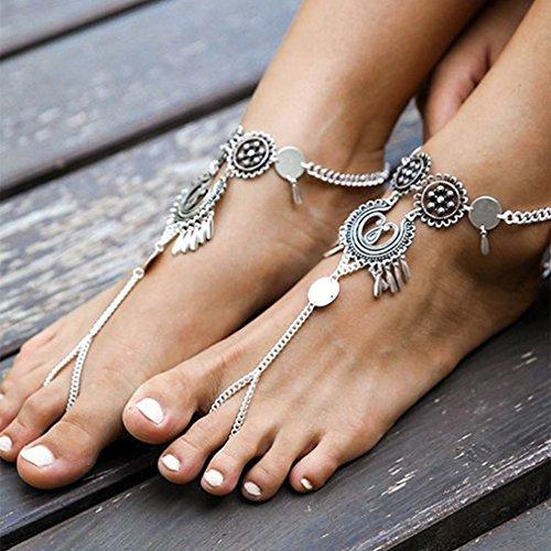 Bodhi2000 - Cavigliera a piedi nudi in stile boho vintage, 2 pezzi