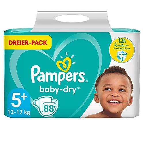 Pampers Größe 5+ Baby Dry Windeln, 88 Stück, Für Atmungsaktive Trockenheit (12-17kg)