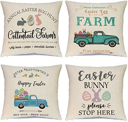 Hlonon Easter Pillow Covers 20 x 20 Inches Set of 4 Easter Series Cushion Cover Case Pillow product image