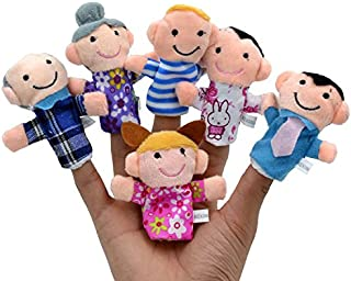 iMagitek Grandparents, Mom & Dad, Brother & Sister Happy Family Style Finger Puppets Set Educational Toy for Children, Shows, Playtime, Schools - 6 Pieces