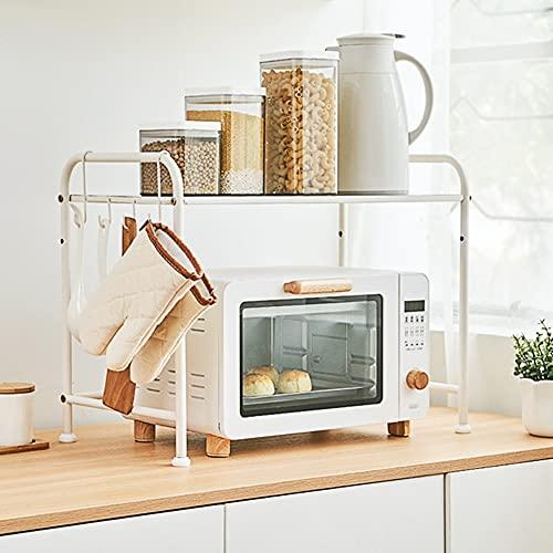 ACXZ Estante de Cocina para Horno microondas Encimera, Rejilla de Almacenamiento de Metal de una Sola Capa Ajustable en Altura con Ganchos, Blanco (56 × 30 × 43,5 cm)