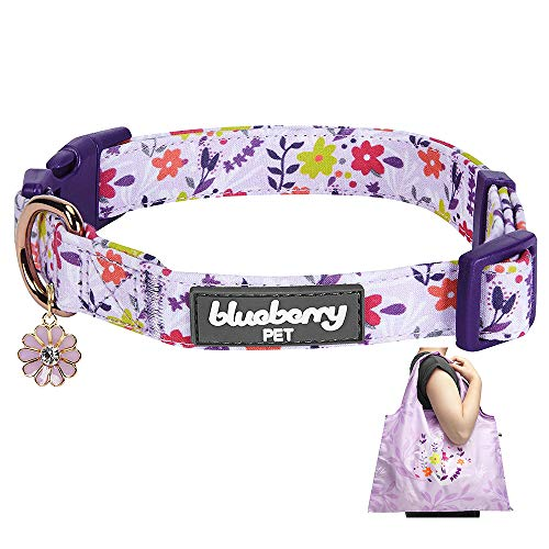 Blueberry Pet Pack of 2 Spring Scent Inspired Products in Lavender - Size Small Dog Collar and Wildflower Print Lightweight Eco-Friendly Reusable Shopping Bag