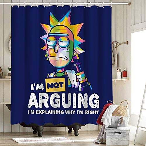 Rick And Morty Cringe Fabric Shower Curtain Liner Polyester Fabric Shower Curtain Set Anime And Game 72X72 Inch