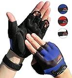 Cycling Gloves Mountain Bike Gloves Road Racing Bicycle Gloves for Biking, Mountain Biking, Riding, Gym, Sports, Foam Padded Breathable Half Finger Gloves, Men Women Work Gloves Blue Medium