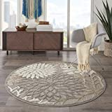 Nourison Aloha Indoor/Outdoor Floral Natural x Area Rug (4' Round), XROUND