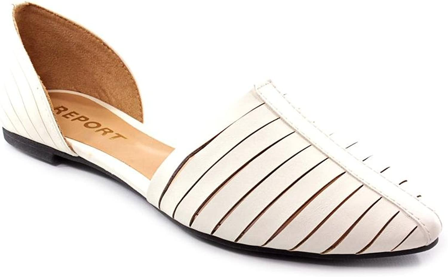 Report Simba Womens White Faux Leather Flats shoes