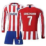 # 7 Griezmann Auswärtstrikot # 9 F. Torres Fußball Uniform Set,19-20 Club Langarm Shorts Training Wettkampfanzug für Herren Kind Geschenk 2 Training Kit T-Shirt Redwhite(#7)-L