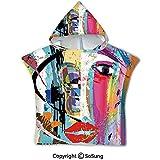 Gustave Tomlinson Art Toddler Hooded Beach-Badetuch, zeitgenössische Malstriche spritzt Gesichtsmasken-Farbe Kiss Graffiti Grunge Creative Theme