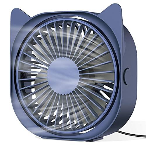 Ventilador de escritorio USB, mini ventilador de escritorio portátil, ventilador giratorio de 3 velocidades de 360°, adecuado para ventiladores de escritorio de hogar y oficina
