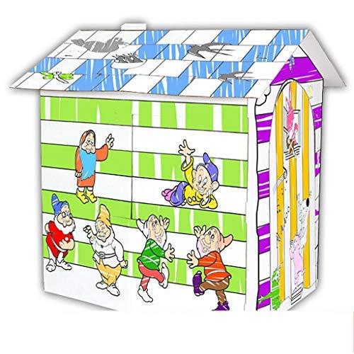 FSFF Colorea tu Propia casa de Juegos de cartón Fuerte y Duradero DIY Hecho a Mano Plegable Juguetes educativos móviles para niños Regalos de cumpleaños 3 años Mayor