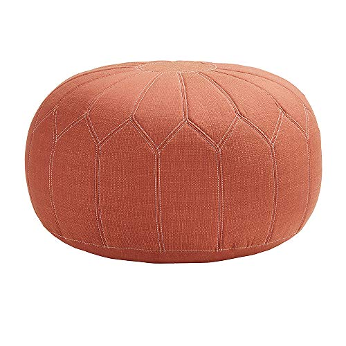 Madison Park Kelsey Round Floor Pillow Pouf Large-Soft Fabric, Polystyrene Beads Fill Ottoman Foot Stool-1 Piece Mid-Century Modern Floral Design Oversized Beanbag, Orange