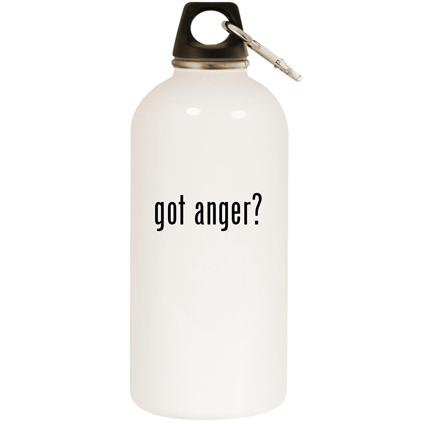 Molandra Products got Anger? - White 20oz Stainless Steel Water Bottle with Carabiner