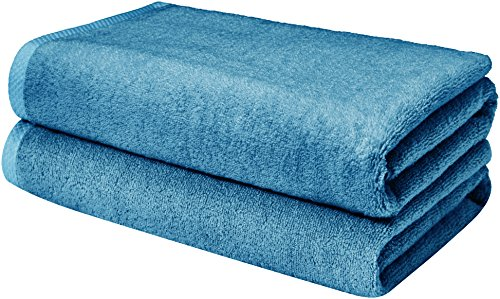AmazonBasics Quick-Dry, Luxurious, Soft, 100% Cotton Towels, Lake Blue - Set of 2 Bath Sheets