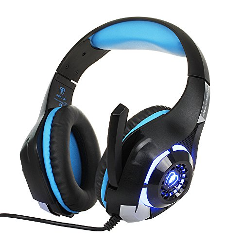 BEEXCELLENT 3.5mm Gaming Headset with Microphone, LED Light and Audio Spliter Cable (Black-Blue)