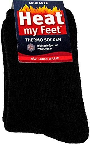 Brubaker 2 Paar Heat my Feet Unisex Thermo Socken Schwarz Größe 39-42