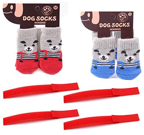 DMFSHI Calcetines Antideslizantes para Mascotas, 8 PCS Calcetines para Perros Calcetines para Gatos con Correa Fija de 4 PCS, Control de Tracción para el Uso en Interiores (M, 7.5 * 3cm)