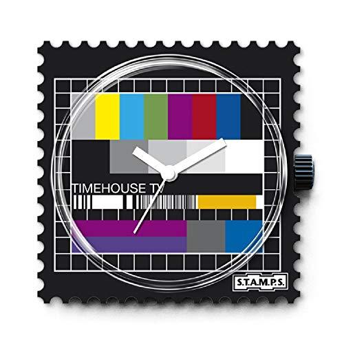 S.T.A.M.P.S. Stamps Uhr KOMPLETT - Zifferblatt Test Pattern mit Lederarmband Classic rot