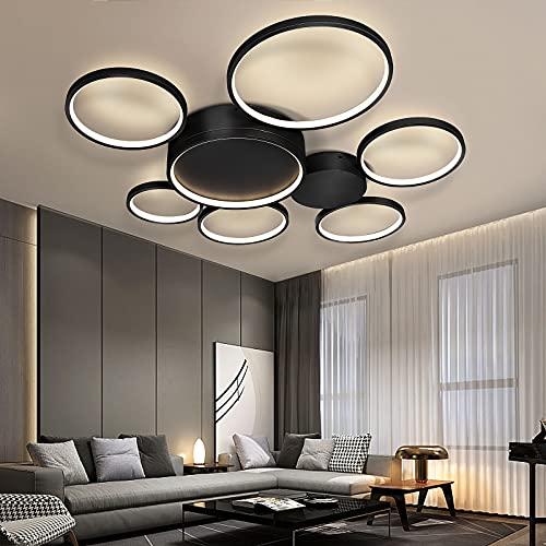 Lingkai Lámpara de techo LED, 109 W, regulable, para comedor, restaurante, lámpara de techo creativa para dormitorio, salón, color negro