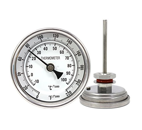 """CONCORD 3"""" Stainless Steel Thermometer with Mounting Assembly. Great for Home Brewing"""
