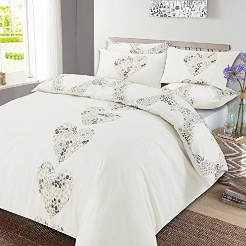 Dreamscene Duvet Cover with Pillow Case Reversible Lizzie Hearts Bedding Set Natural - King