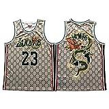 QJV James #23 Sleeveless Jersey for Men, Laker King 90S Hip Hop Clothing, Swingman Jerseys with Chinese Dragon Basketball Uniforms L