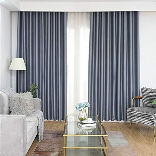 Cortina de franela de color sólido con acabado de dormitorio, aislamiento y reducción de ruido, tela de dos piezas, gris, 100 x 100 cm