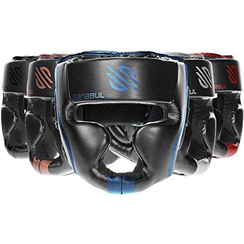Sanabul Essential Professional Boxing MMA Kickboxing Head Gear (Blue, S/M)
