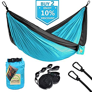 LATTCURE Double Camping Hammock, Lightweight Portable Hammock Parachute Nylon Fabric & 600LB High Capacity with 2 Adjustable Hanging Straps for Camping Backpacking Travel Beach Yard(Blue+Grey)