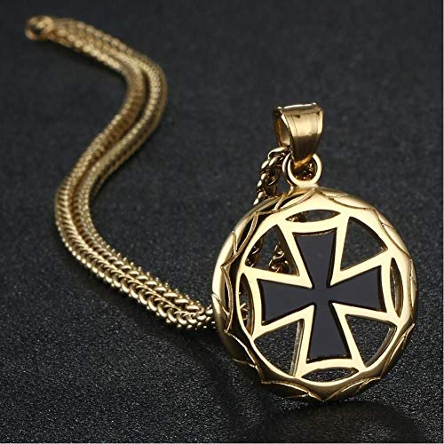 KJFUN Vintage Edelstahl Malteser Cross Link Kette Halsketten Templer Ritter Anhänger Halsketten Schmuck