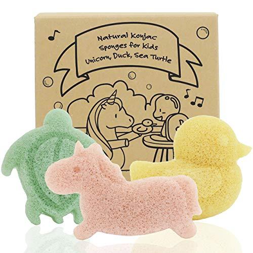 Konjac Baby Sponge for Bathing, Cute Shapes Natural Kids Bath Sponges for Infants, Toddler Bath Time, Natural and Safe Plant-Based Konjac Baby Bath Toys, 3pc. Set: Unicorn, Duck & Sea Turtle