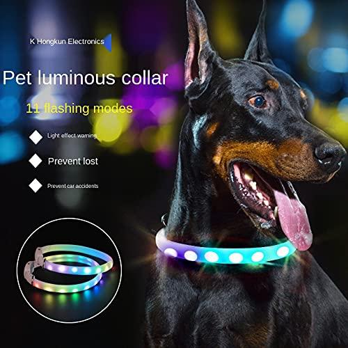 Collar con Luz LED para Perros, Collar Luminoso para Perros, USB Recargable, 11 Modos De Iluminación, Collar para Mascotas, Longitud Ajustable, Impermeable, para Mascotas, 65 Cm
