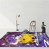 MMHJS Mobiliario para El Hogar Western 12 Constellation Girls Dormitorio Alfombra Grande Totalmente Cubierta Alfombra Grande Rectangular De Dibujos Animados Suave Y Cómoda 140x200cm