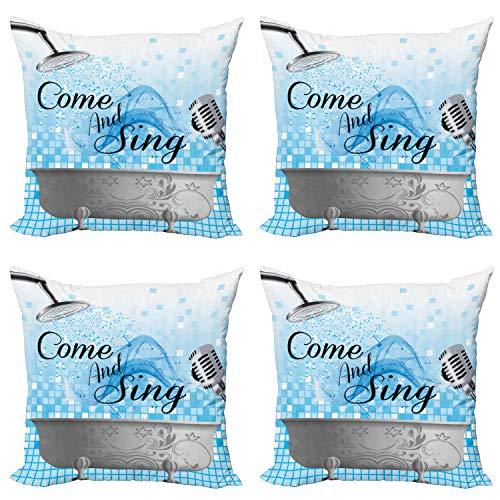 ABAKUHAUS Diciendo Set de 4 Fundas para Cojín, Ven y Sing Mensaje, Estampado Digital en Ambos Lados y Cremallera, 60 cm x 60 cm, Azul pálido Blanca