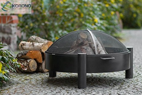 Korono Feuerschale 80cm mit 2 Griffen & Funkenschutz Gitter | Gartenfeuer | offenes Feuer - elegante Feuerstelle