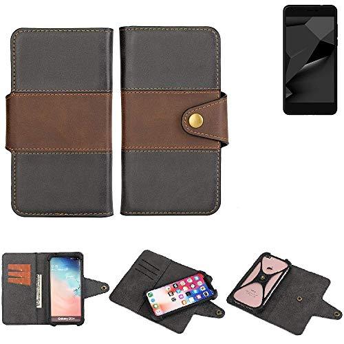 K-S-Trade® Handy-Hülle Schutz-Hülle Bookstyle Wallet-Case Für Blaupunkt SL Plus 02 Bumper R&umschutz Schwarz-braun 1x