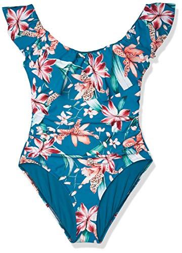 La Blanca Women's Off Shoulder Ruffle One Piece Swimsuit, White//Flyaway Orchid, 16