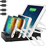 Charging Station,Thopeb 4 Port USB Charging Station Included 4 Short Mixed Cables - Compatible Ipad,iPhone,Samsung,Smartphone - Desktop Cell Phone Charge Stand & Multiple USB Charger Docking Organizer