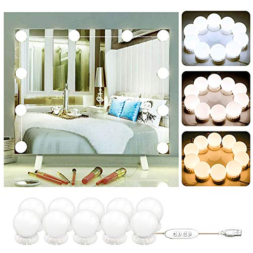 Hollywood Mirror Light Bulbs Kit 10 - LED Vanity Mirror Lamp for Dressing Room Table - USB Operated Mirror Light Strip with 3 Dimmable Light Colors for Bathroom Vanity, Beauty Salon Makeup Artist/5.4m