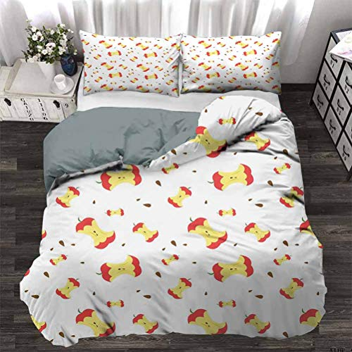 UNOSEKS LANZON Quilt Cover Eaten Fruit with Scattered Seeds Taking the Daily Vitamin Summer Season Yield Light-Weight Duvet Cover Set Breathable and Comfortable Coral Yellow Umber Twin - 180 x 230 CM