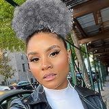 Xtrend Afro Kinky Curly Puff Cordon de serrage Queue de cheval Ombre Grey High Puffs Cordon de serrage Bun 2 Clips in Hairpieces Donut Chignon Cheveux courts bouclés pour les femmes noires 1B / Gris
