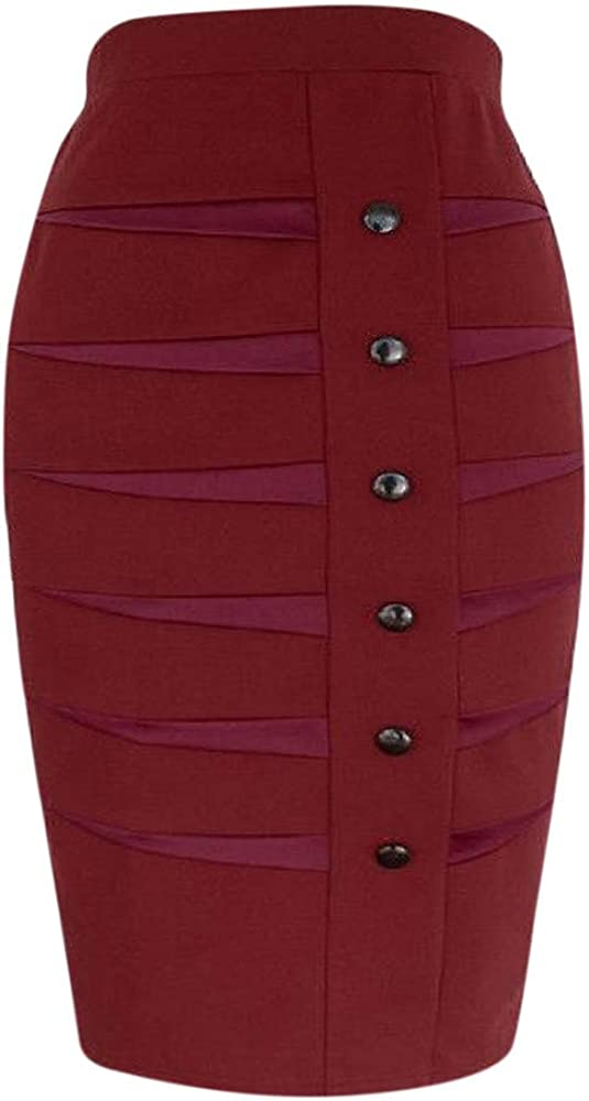 Loyalt Skirts for Women Button Front,Women's Professional hind Skirts Wear to Work Bodycon Dress Skirits RD/S,Women's Skirts Red