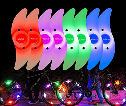 WOWLED 8pcs Bike Spoke Light Multicolour with Spare Batteries, Waterproof Easy Install Bicycles Wheel Spoke LED Lights Neon Tire Flash Lights with 3 Modes,for Cycling Decoration