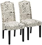 Merax Dining Script Fabric Accent Chair with Solid Wood Legs, Set of 2